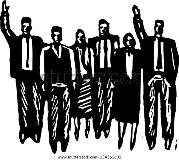 Black and white vector illustration of Group of Sales People