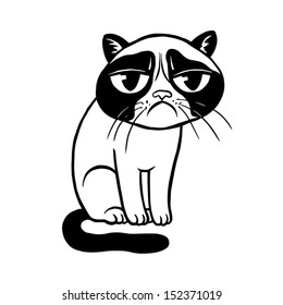 Black and white vector illustration of grumpy cat, can be used as a tattoo or print for t-shirt