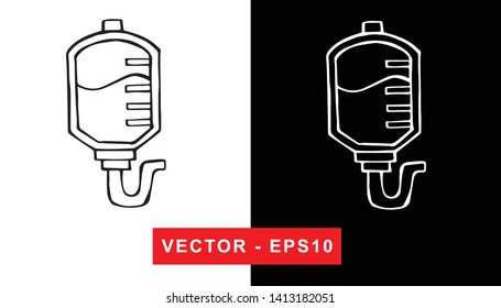 Black and White Vector Illustration of Hand Drawn Sketch of Blood Bag Medical Icon on Isolated Background