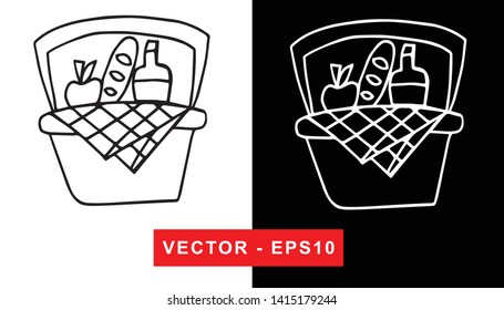 Black and White Vector Illustration of Hand Drawn Sketch of Basket with Foods For Picnic Icon on Isolated Background