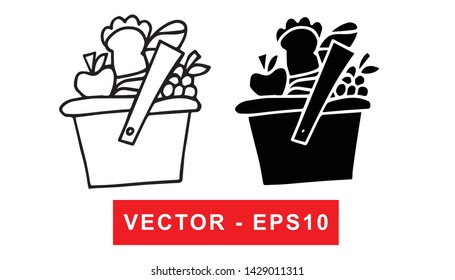 Black and White Vector Illustration of Hand Drawn Sketch of Basket for Picnic Icon on Isolated Background