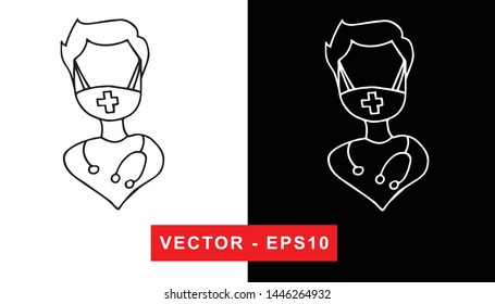 Black and White Vector Illustration of Hand Drawn Sketch of Nurse with Uniform for Medical, Hospital, and Health Care Icon on Isolated Background