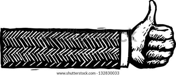 Black and white vector illustration of hand showing thumb up