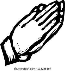 Black and white vector illustration of hands in prayer position