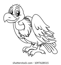 Black and White Vector Illustration of a Happy Vulture. Cute Cartoon Vulture Isolated on a White Background Coloring Page. Happy Animals Coloring Book for Children