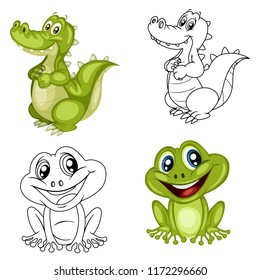 Black and White Vector Illustration of a Happy Frog and Alligator. Cute Cartoon Frog and Alligator Isolated on a White Background Coloring Page. Happy Animals Coloring Book for Children