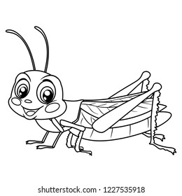 Black and White Vector Illustration of a Happy Grasshopper. Cute Cartoon Grasshopper Isolated on a White Background Coloring Page. Happy Insects Coloring Book for Children