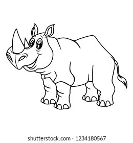Black and White Vector Illustration of a Happy Rhinoceros. Cute Cartoon Rhino Isolated on a White Background Coloring Page. Happy Animals Coloring Book for Children