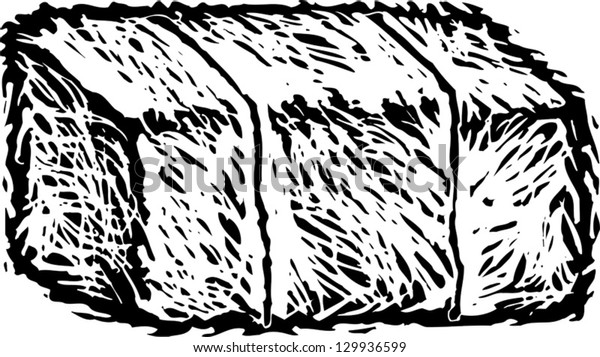 Black and white vector illustration of hay bale