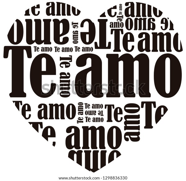 Black and white vector illustration of a heart filled with signs that say I love you in Spanish, good for Valentine's Day.