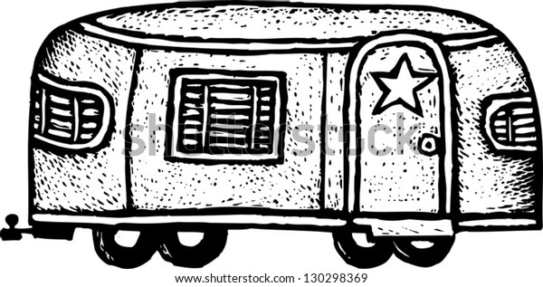 Black and white vector illustration of Hollywood movie star trailer