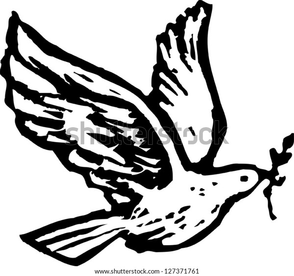 Black and white vector illustration of Holy Spirit dove with olive branch
