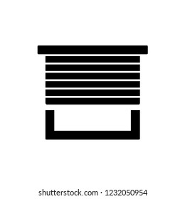Black & white vector illustration of horizontal blind. Flat icon of sun protection shade. Window jalousie, shutters. Isolated object on white background