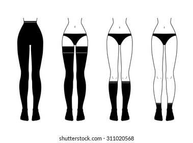 Black and white vector illustration of hosiery elements: tights, stockings, golfs and socks. Flat icon set of lingerie for design. Silhouettes of female underwear.