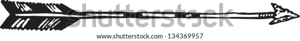 Black and white vector illustration of Hunting Arrow