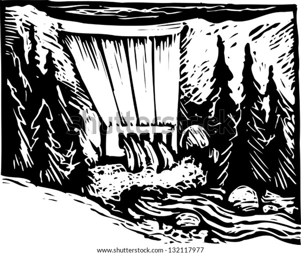 Black and white vector illustration of hydro power