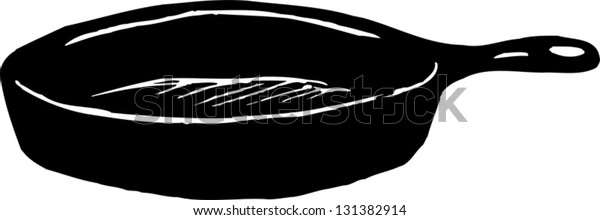 Black and white vector illustration of iron skillet
