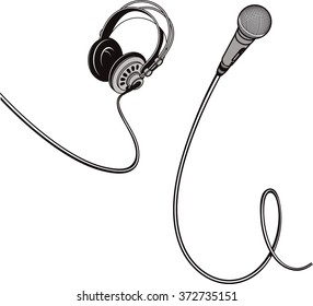 Black and white vector illustration of isolated microphone and headphones with wires.