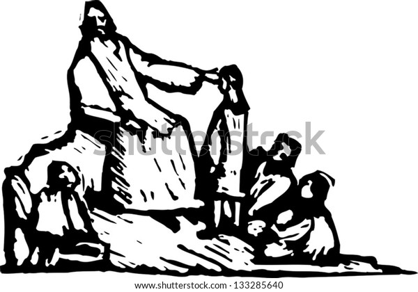 Black and white vector illustration of Jesus telling parables
