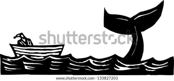 Black and white vector illustration of Jonah and the whale