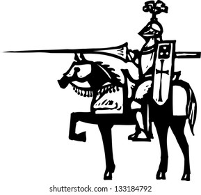 Black and white vector illustration of knight in armor on horse