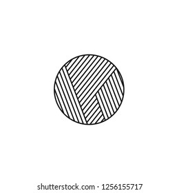 Black & white vector illustration of knitting wool ball. Line icon of yarn round skein. Isolated object on white background