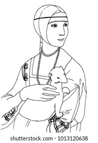 Black and white vector illustration of of the lady with the ermine the Leonardo da Vinci famous painting