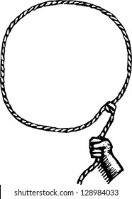Black and white vector illustration of a lasso