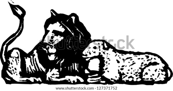 Black and white vector illustration of lion and lamb