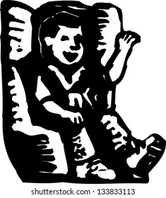 Black and white vector illustration of little boy in car child safety seat