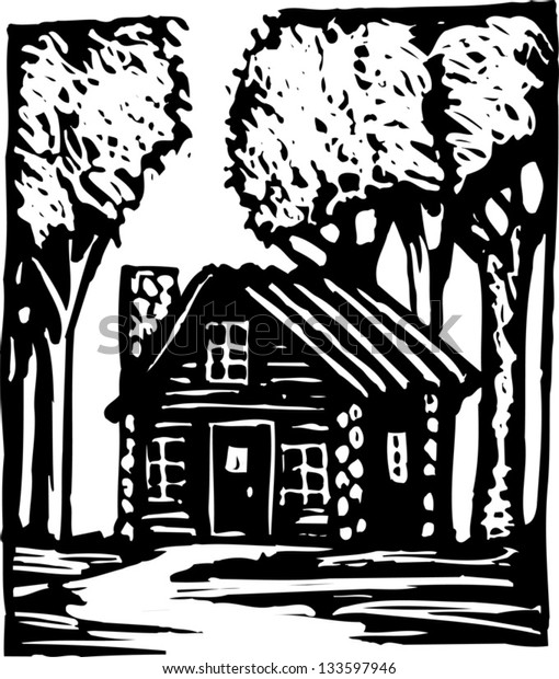 Black and white vector illustration of log cabin