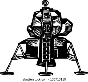 Black and white vector illustration of lunar excursion module