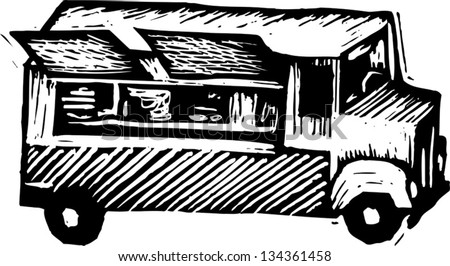 Black and white vector illustration of Lunch Wagon