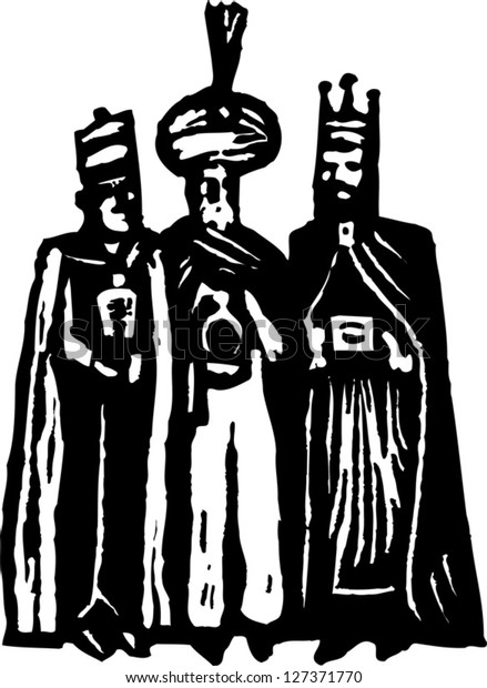 Black and white vector illustration of the Magi or the three wise men