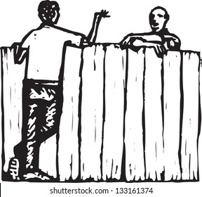 Black and white vector illustration of male neighbors talking over fence