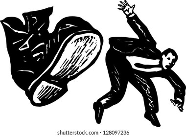 Black and white vector illustration of man getting kicked by boot