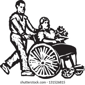 Black and white vector illustration of man pushing wheelchair