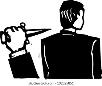 Black and white vector illustration of man about getting stabbed in back