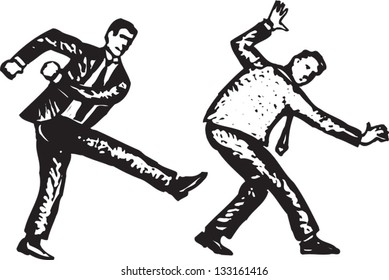 Black and white vector illustration of man kicking another man in butt