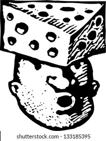Black and white vector illustration of man with cheese on his head