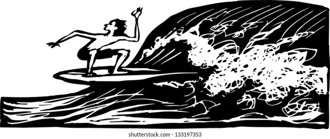 Black and white vector illustration of man surfing