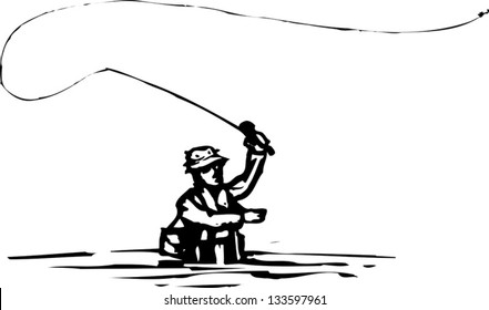 Black and white vector illustration of man fly fishing
