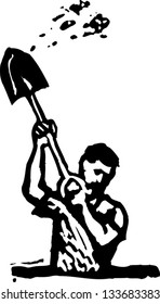 Black and white vector illustration of man digging hole