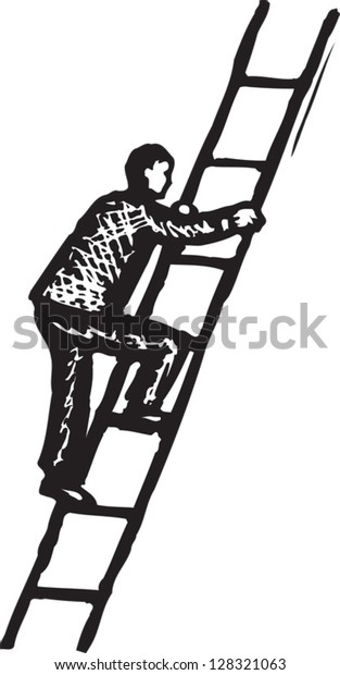 Black and white vector illustration of man climbing stairs