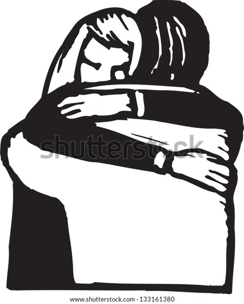 Black and white vector illustration of man and woman hugging each other