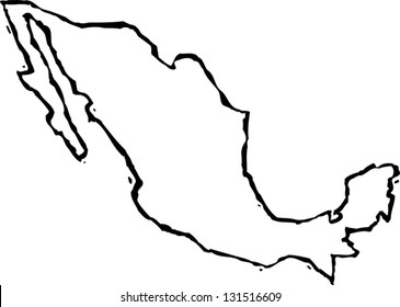 Black and white vector illustration of map of Mexico