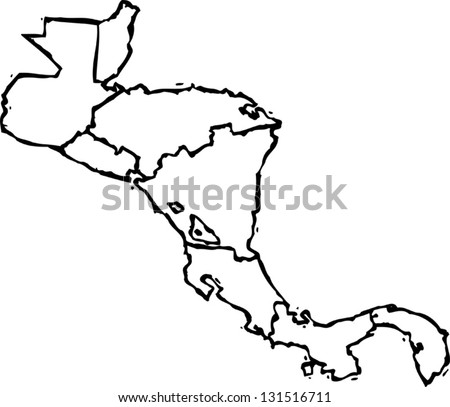 Black and white vector illustration of map of Central America