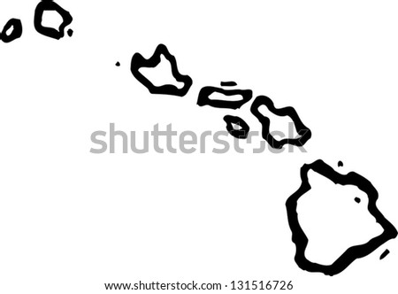 Black White Vector Illustration Map Hawaii Stock Vector Royalty