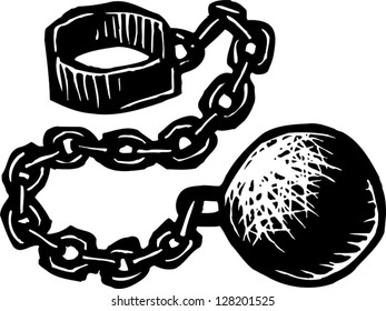 Black and white vector illustration of metallic ball and chain