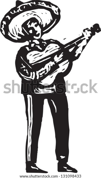 Black and white vector illustration of Mexican mariachi